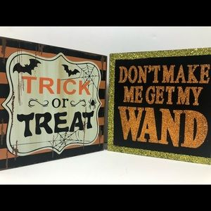 Two Square Halloween Wooden Table Top Signs NWT